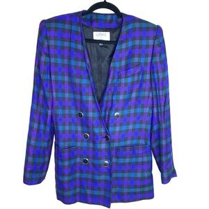 Kasper Vintage 80's boyfriend plaid blazer size 4